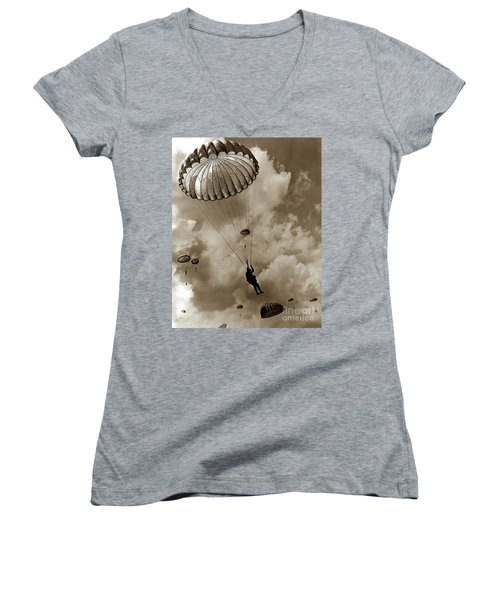 The 82nd Airborne  Hits The Silk Fort Ord 1953 Women's V-Neck