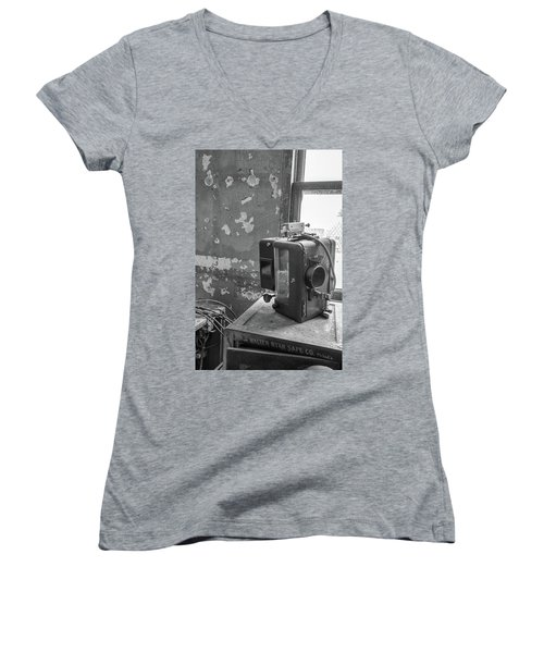 The Abandoned Projector Bw Women's V-Neck