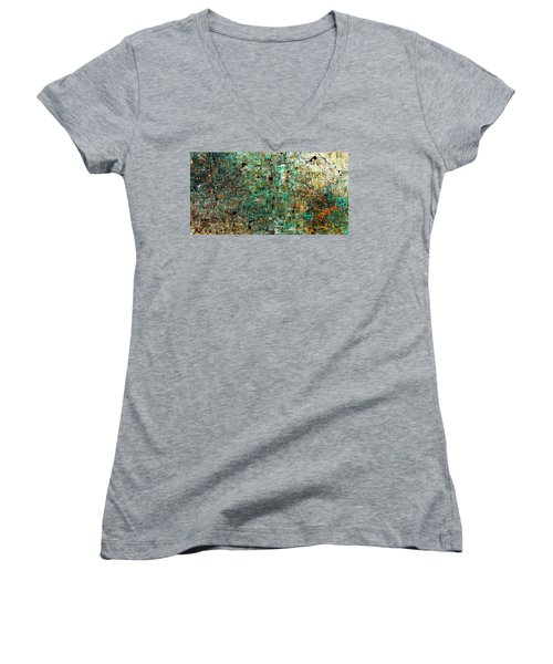 Women's V-Neck T-Shirt (Junior Cut) featuring the painting The Abstract Concept by Carmen Guedez