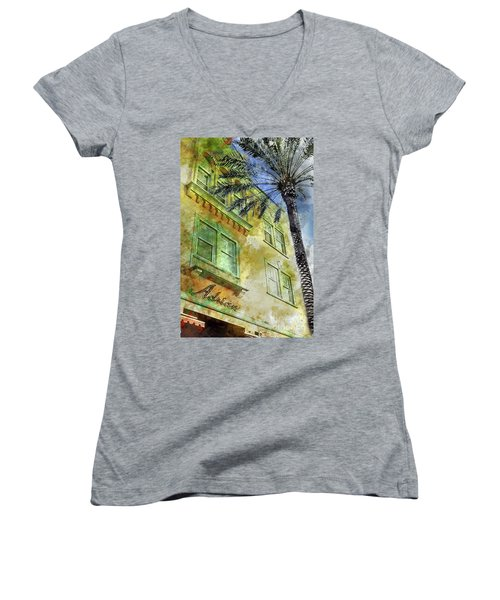 The Adrian Hotel South Beach Women's V-Neck T-Shirt (Junior Cut) by Jon Neidert