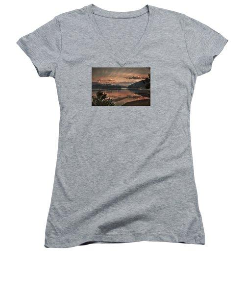 The Adventure Begins Women's V-Neck T-Shirt (Junior Cut) by Loni Collins