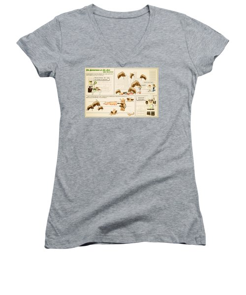 Women's V-Neck T-Shirt (Junior Cut) featuring the photograph The Adventures Of Dr Ogel by Mark Fuller