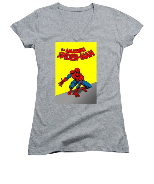 Women's V-Neck featuring the painting The Amazing Spider-man by Antonio Romero