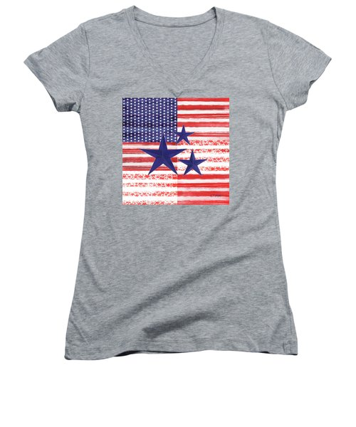 Women's V-Neck T-Shirt (Junior Cut) featuring the photograph The Americana Flag by Colleen Taylor