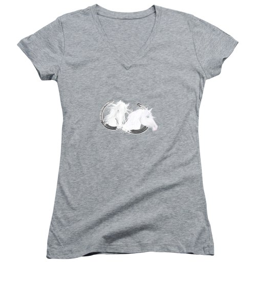 Women's V-Neck featuring the painting The Andalusians by Valerie Anne Kelly