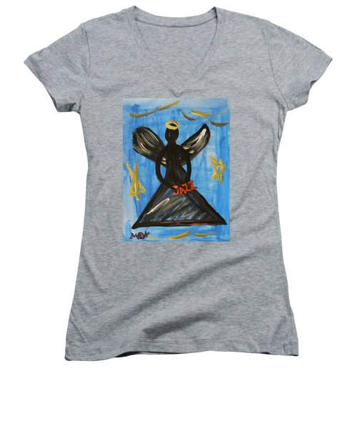 The Angel Of Jazz Women's V-Neck T-Shirt (Junior Cut) by Mary Carol Williams