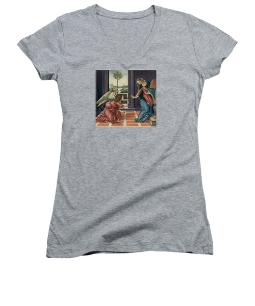 The Annunciation After Botticelli Women's V-Neck T-Shirt (Junior Cut) by Yvonne Wright