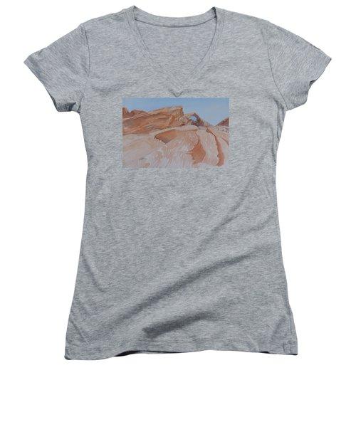 The Arch Rock Experiment - Vi Women's V-Neck T-Shirt (Junior Cut) by Joel Deutsch