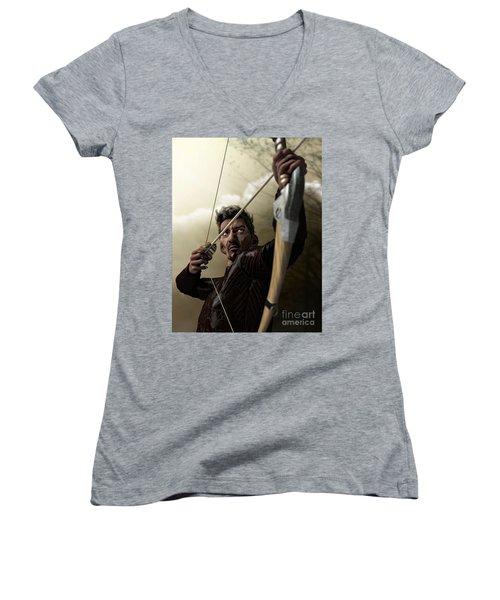 Women's V-Neck T-Shirt (Junior Cut) featuring the digital art The Archer by Sandra Bauser Digital Art