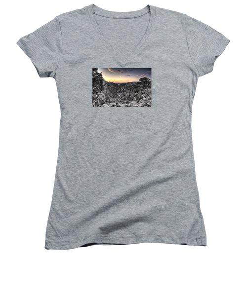 Women's V-Neck T-Shirt (Junior Cut) featuring the digital art The Arkansas Through Royal Gorge by William Fields
