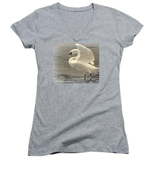The Art Of The Swan  Women's V-Neck