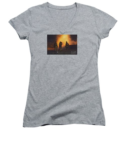 Women's V-Neck T-Shirt (Junior Cut) featuring the photograph The Attack by Jim Lepard