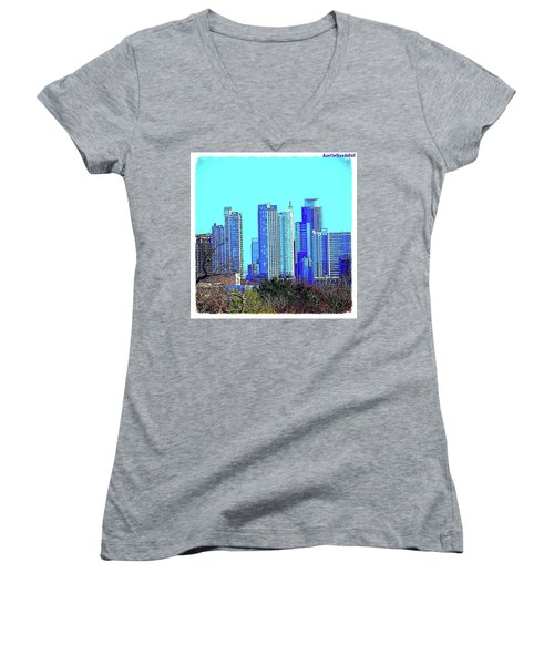 The #austin #skyline On A Sunny, Cold Women's V-Neck T-Shirt (Junior Cut)