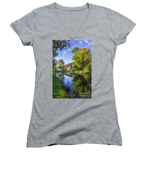 Women's V-Neck T-Shirt (Junior Cut) featuring the photograph The Autumn Pond by Ian Mitchell