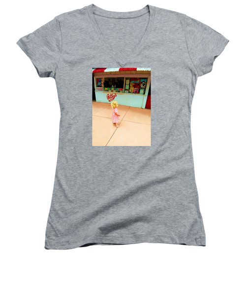 The Candy Store Women's V-Neck T-Shirt (Junior Cut) by Lanita Williams