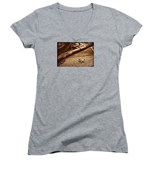 The Badge Women's V-Neck T-Shirt (Junior Cut) by American West Legend By Olivier Le Queinec