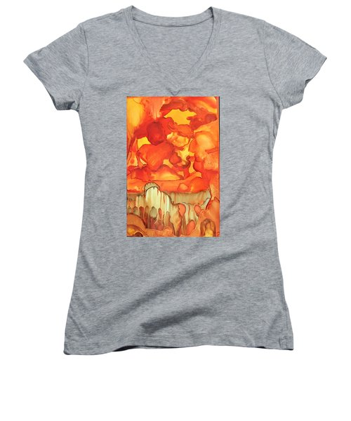 The Ball Of Fire Explodes Women's V-Neck (Athletic Fit)