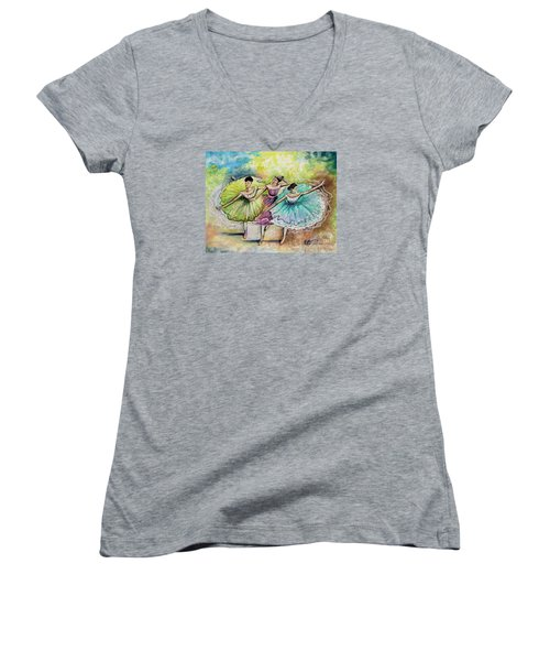 Women's V-Neck T-Shirt (Junior Cut) featuring the painting The Ballerina Dancers by Elizabeth Robinette Tyndall