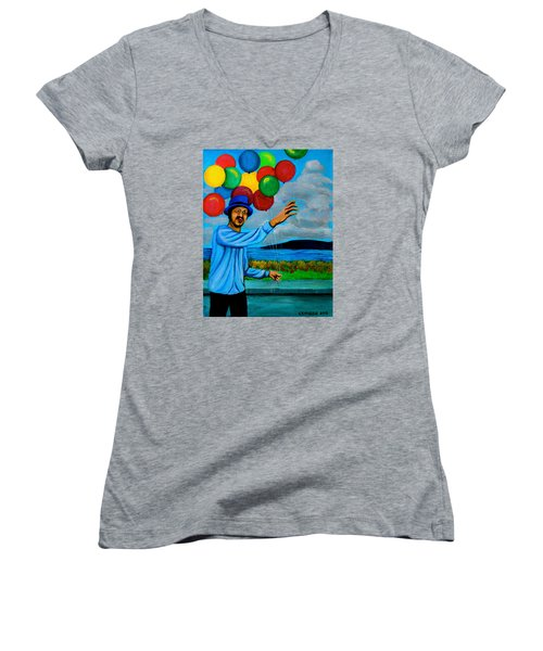Women's V-Neck T-Shirt (Junior Cut) featuring the painting The Balloon Vendor by Cyril Maza