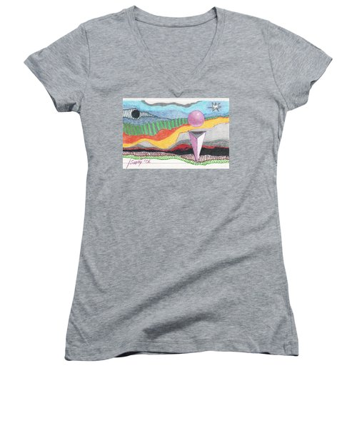 Women's V-Neck T-Shirt featuring the drawing The Bannishment Of Evil by Rod Ismay
