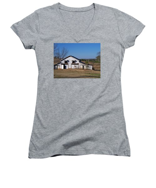 Women's V-Neck T-Shirt (Junior Cut) featuring the photograph The Barn by Betty Northcutt