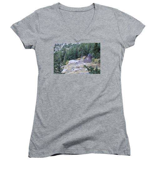 Women's V-Neck T-Shirt (Junior Cut) featuring the photograph The Barr Trail A Frame by Christin Brodie