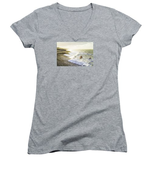 Women's V-Neck T-Shirt (Junior Cut) featuring the photograph The Bathers by Russell Styles