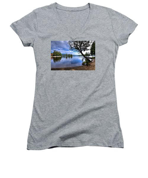 Women's V-Neck T-Shirt featuring the photograph The Beach At Covewood Lodge by David Patterson