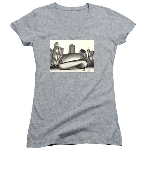The Beach Chicago Drawing Women's V-Neck (Athletic Fit)