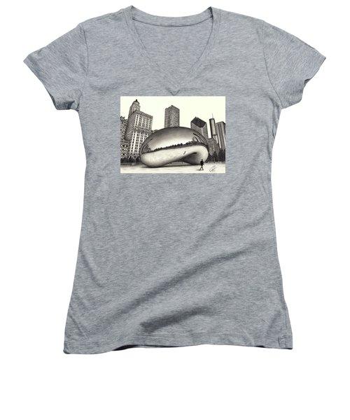 The Beach Chicago Drawing Women's V-Neck T-Shirt