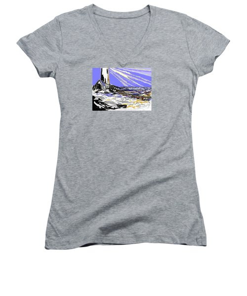 Women's V-Neck T-Shirt (Junior Cut) featuring the drawing The Beacon by Desline Vitto