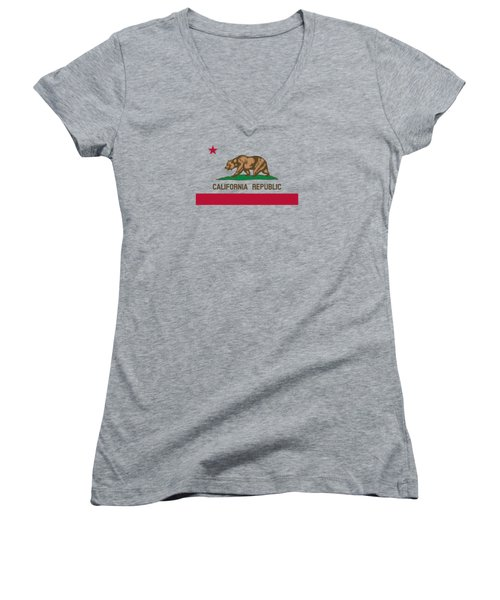 The Bear Flag - State Of California Women's V-Neck T-Shirt (Junior Cut) by War Is Hell Store
