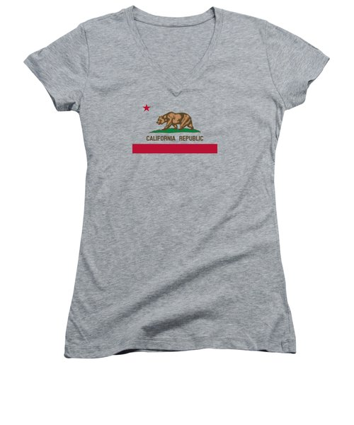 The Bear Flag - State Of California Women's V-Neck (Athletic Fit)