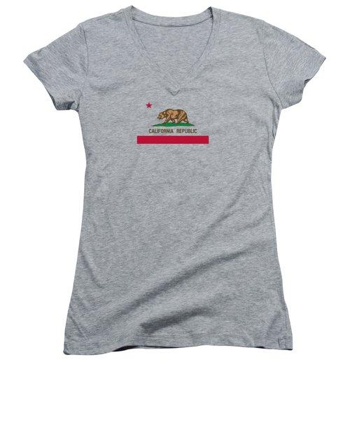 The Bear Flag - State Of California Women's V-Neck T-Shirt (Junior Cut)