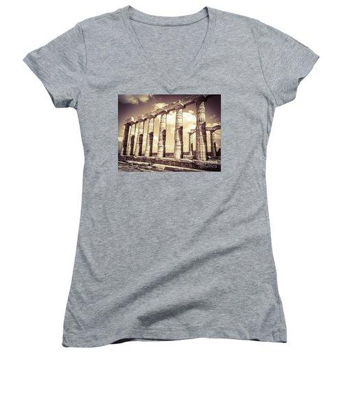 The Beauty Of The Temple Of Poseidon Women's V-Neck