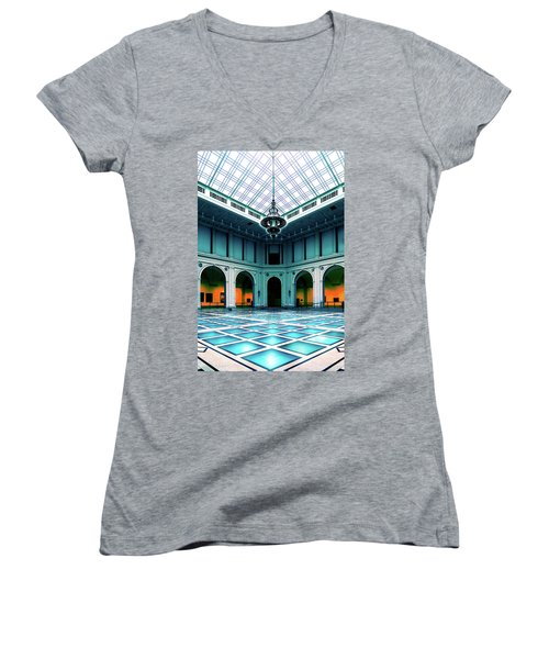 Women's V-Neck T-Shirt (Junior Cut) featuring the photograph The Beaux-arts Court by Chris Lord