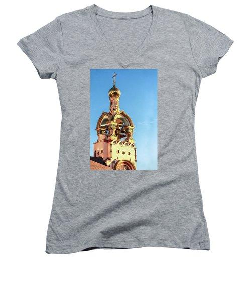 The Bell Tower Of The Temple Of Grand Duke Vladimir Women's V-Neck T-Shirt