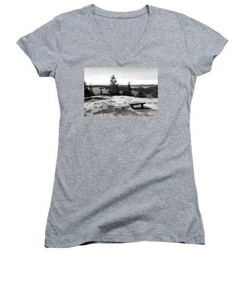 Women's V-Neck featuring the photograph The Bench Atop Turtleback by Lorraine Devon Wilke