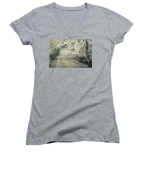 Women's V-Neck T-Shirt (Junior Cut) featuring the photograph The Bench That Waits For You by Tara Turner