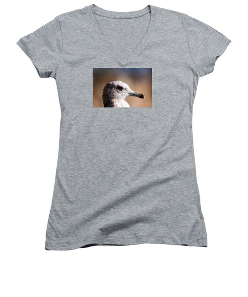 Women's V-Neck T-Shirt (Junior Cut) featuring the photograph The Best Side Of The Gull by Lora Lee Chapman