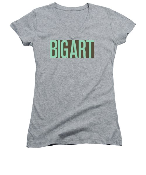 The Big Art - Pure Emerald On Cotton Women's V-Neck T-Shirt (Junior Cut) by Serge Averbukh