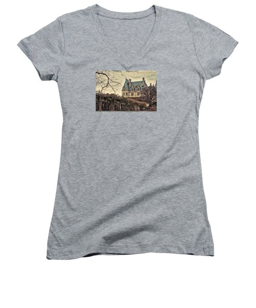 The Biltmore Mansion In The Fall Women's V-Neck T-Shirt (Junior Cut) by Robert FERD Frank