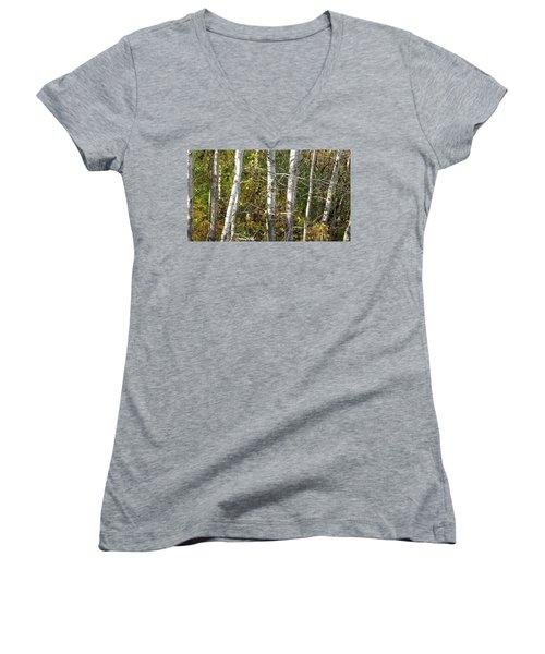 The Birches Women's V-Neck T-Shirt (Junior Cut) by Kimberly Mackowski