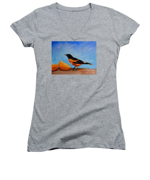 Women's V-Neck T-Shirt (Junior Cut) featuring the painting The Bird And Orange by Laura Forde