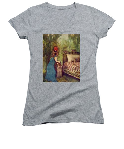 Women's V-Neck T-Shirt (Junior Cut) featuring the digital art The Bird Catcher by Lisa Noneman