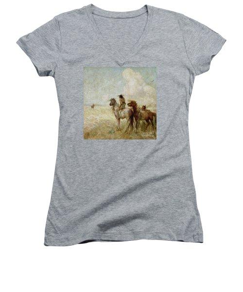 The Bison Hunters Women's V-Neck T-Shirt (Junior Cut) by Nathaniel Hughes John Baird