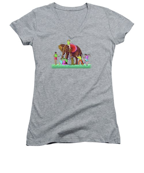 The Blind And The Elephant Women's V-Neck T-Shirt (Junior Cut) by Anthony Mwangi