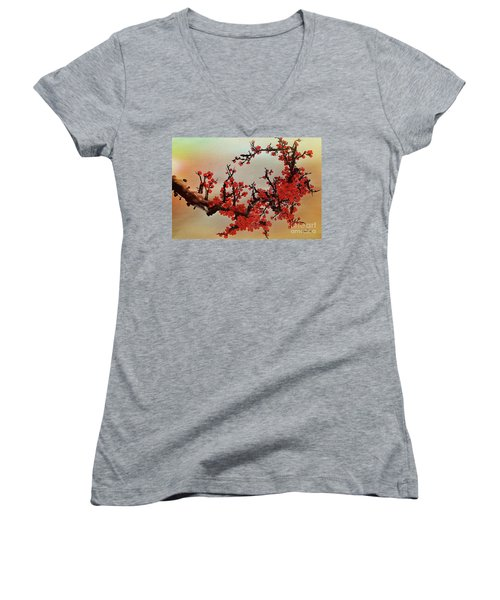 The Bloom Of Cherry Blossom Women's V-Neck (Athletic Fit)