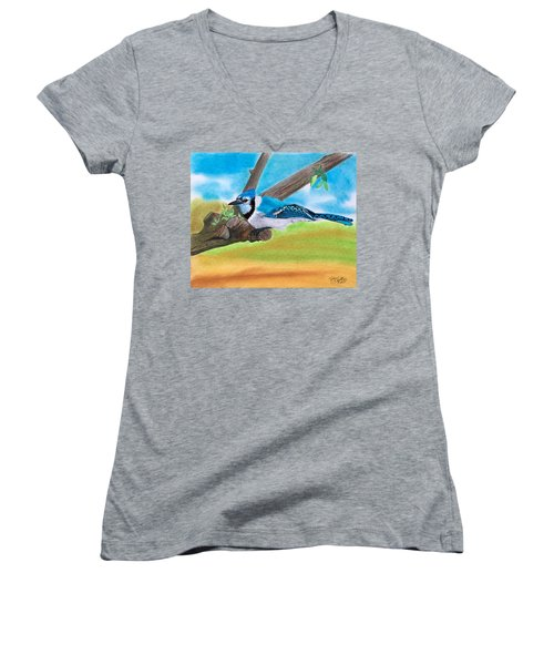 The Blue Jay  Women's V-Neck T-Shirt (Junior Cut) by Tony Clark