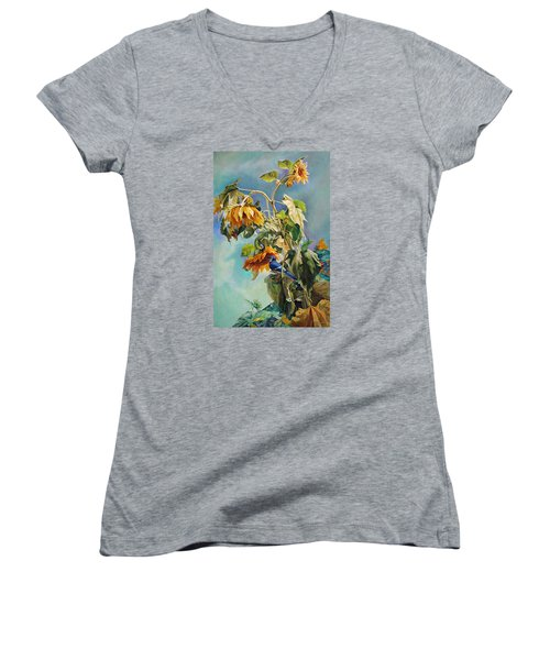 The Blue Jay Who Came To Breakfast Women's V-Neck T-Shirt